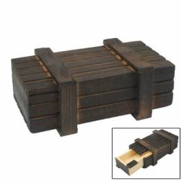 Wooden puzzle box with secret drawer for play and geocaching